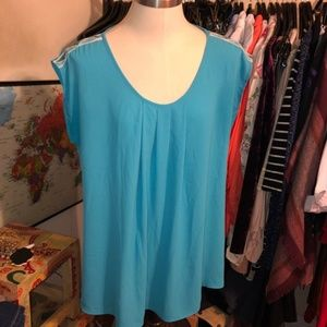 PLEIONE Blue chiffon shoulder embroidery blouse lg